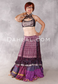 Silk Brocade Low-High Ruched Skirt - Iridescent Wine, Fuchsia And Silver, Skirt #15