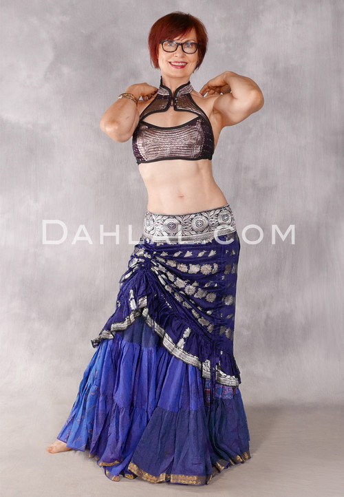 Silk Brocade Low-High Ruched Skirt - Royal Purple, Black And Silver, Skirt #21