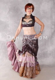 Silk Brocade Low-High Ruched Skirt - Chocolate and Antique Silver, Skirt #19 (Shown with 25 Yard Tiered Ruched Silk Skirt in Mauve and Taupe Combination #7)