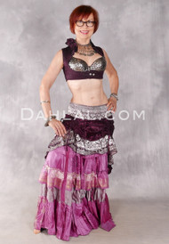 Silk Brocade Low-High Ruched Skirt - Wine, Rose and Silver, Skirt #20