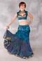 Silk Brocade Low-High Ruched Skirt - Teal, Skirt #3