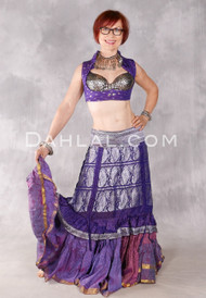 Silk Brocade Low-High Ruched Skirt - Purple, Plum and Silver, Skirt #12