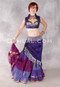 Silk Brocade Low-High Ruched Skirt - Purple, Plum and Silver, Skirt #7