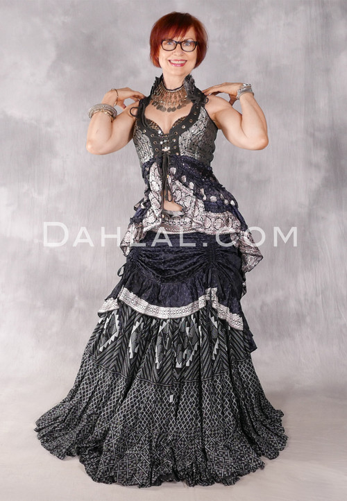 Silk Brocade Low-High Ruched Skirt - Black and Silver, Skirt #6
