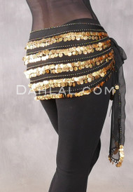 Five-Row Egyptian Coin Hip Scarf - Black and Gold