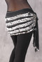 Five-Row Egyptian Coin Hip Scarf - Black and Silver