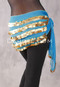 Five-Row Egyptian Coin Hip Scarf - Turquoise and Gold