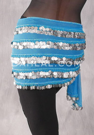 Five-Row Egyptian Coin Hip Scarf - Turquoise and Silver