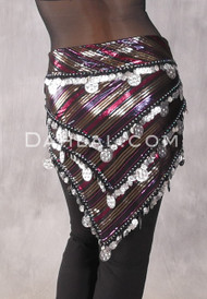 Three Row Egyptian Coin Hip Scarf With Multi-Sized Coins - Metallic Stripe And Silver