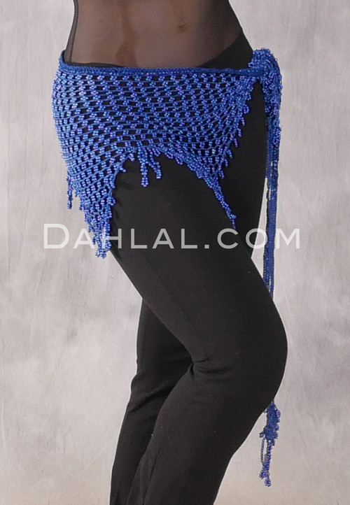 Beaded Crocheted Hip Scarf- Blue
