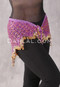 Beaded Crocheted Hip Scarf- Orchid and Gold