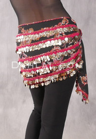 Five-Row Egyptian Coin Hip Scarf - Floral Black and Red with Gold