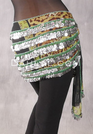 Five-Row Egyptian Coin Hip Scarf - Animal Print on Black with Silver