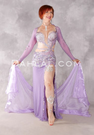 Lavender Mist Egyptian Beaded Dress - Lavender and Silver