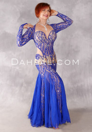 Sophistication in Blue Egyptian Beaded Dress by Eman Zaki