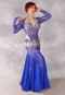 Sophistication in Blue Egyptian Beaded Dress by Eman Zaki