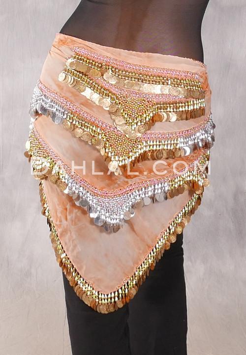 Egyptian Bead And Coin Triangular Hip Scarf - Orange and Peach Tie Dye