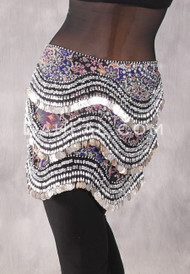 Egyptian New Wave Hip Scarf - Floral Print with Silver