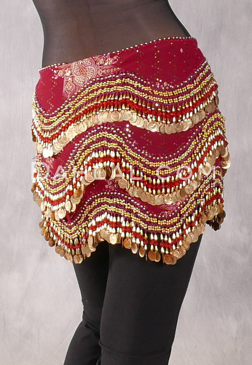 Egyptian New Wave Hip Scarf - Ethnic Print with Gold