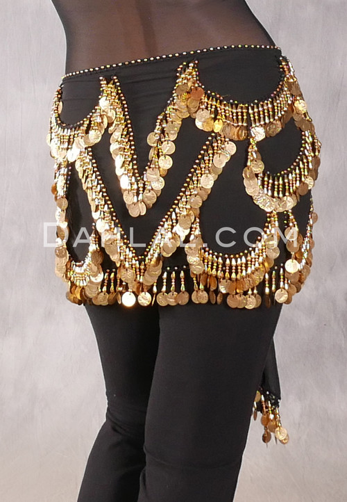 Egyptian Crescent Coin Hip Scarf - Black and Gold