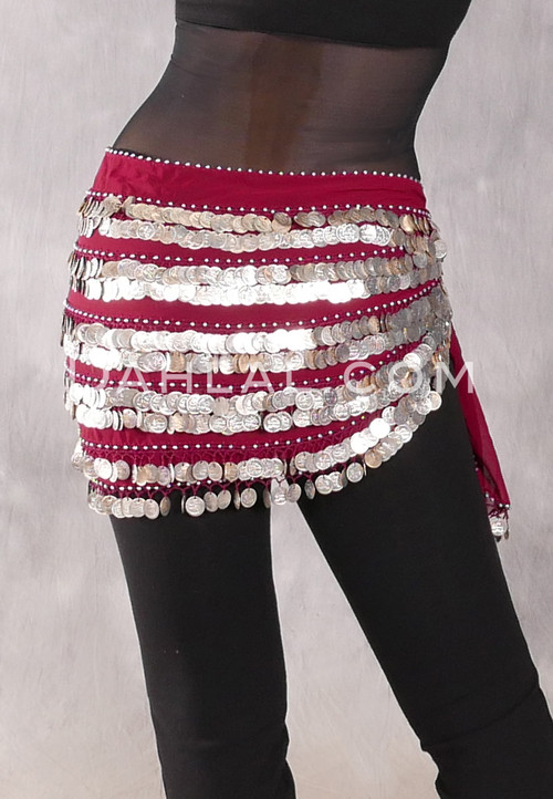 Five-Row Egyptian Coin Hip Scarf - Wine and Silver