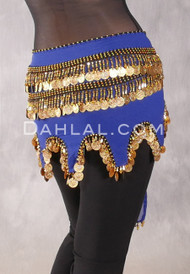Egyptian Teardrop Wave Wrap Hip Scarf - Royal Blue and Gold