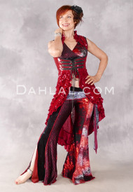 Twilight Tales Sequin and Velvet Underbust Tail Vest - Red