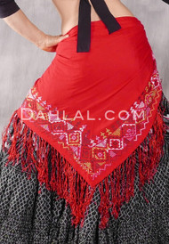 Egyptian Embroidered Bedouin Shawl- Red with Olive, White, Lime & Lavender