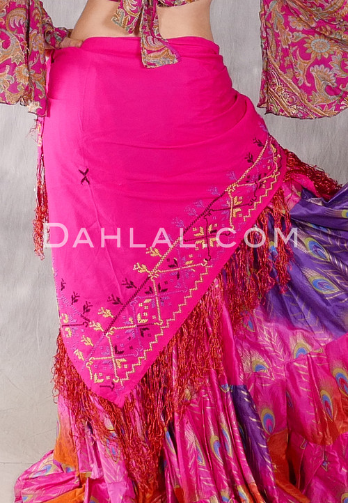 Egyptian Embroidered Bedouin Shawl - Fuchsia with Lavender, Yellow and Black