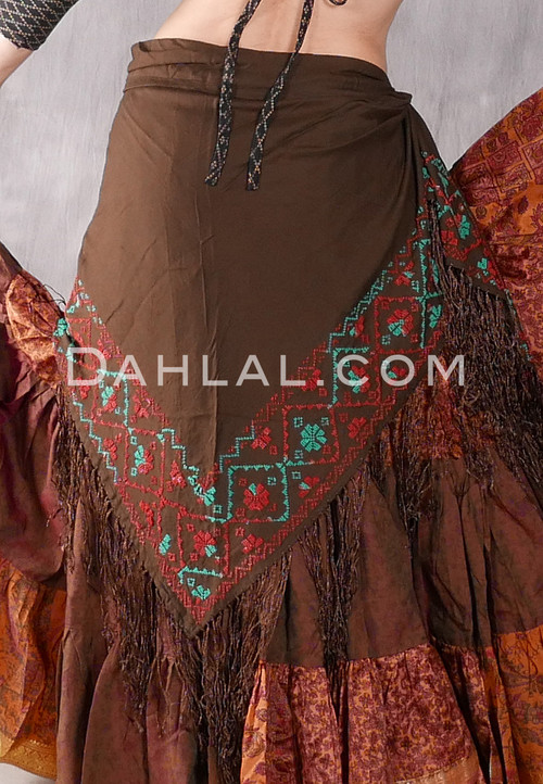Egyptian Embroidered Bedouin Shawl - Brown with Emerald and Red