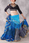 Full Length Front View Shown with our Black Choli with Turkoman Buttons and a 25 Yard Silk Printed Skirt