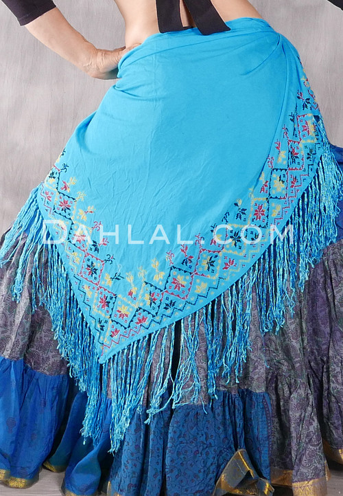 Egyptian Embroidered Bedouin Shawl - Turquoise with Red, Black and Yellow