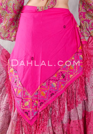 Egyptian Embroidered Bedouin Shawl - Fuchsia with Black, Yellow, Green, Blue and Orange