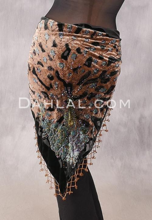 Burnout Velvet Beaded Peacock Shawl - Black