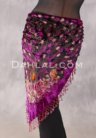 Burnout Velvet Beaded Peacock Shawl - Magenta
