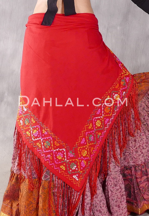 Egyptian Embroidered Bedouin Shawl - Red with Yellow, Green, Pink and White