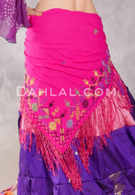 Egyptian Embroidered Bedouin Shawl- Fuchsia with Multi- Color