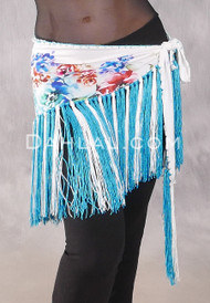 Velvet Fringe Hip Scarf in Floral with Turquoise and White