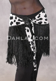 Velvet Fringe Hip Scarf in Black and White Animal Print