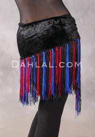 Velvet Fringe Hip Scarf in Black with Black, Red and Royal Blue