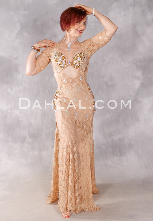 Golden Lace Egyptian Beledi Dress - Gold and Silver