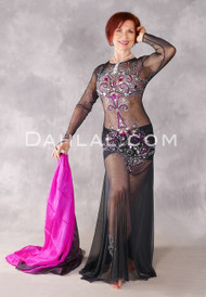 Midnight Beauty Egyptian Dress - Black, Fuchsia and Silver