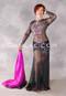 Midnight Beauty Egyptian Dress - Black, Fuchsia and Silver