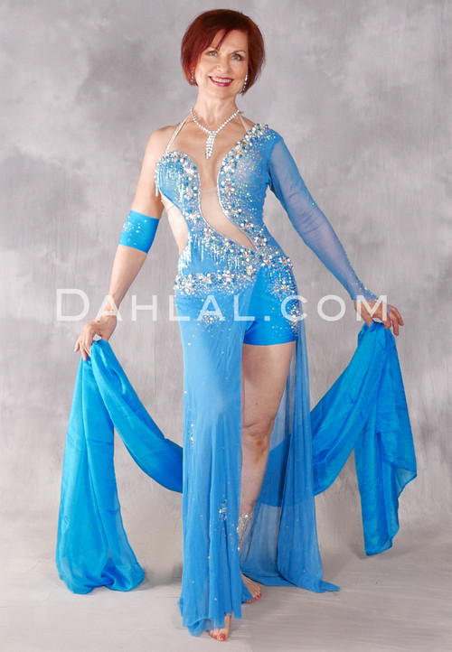 Mediterranean Empress Egyptian Beaded Dress - Turquoise and Silver