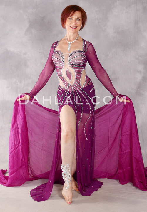 Nile Princess Egyptian Dress - Magenta, Silver and Multi-color