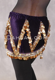 Velvet Crescent Hip Scarf with Zig Zag Bead and Coin Pattern - Purple and Gold
