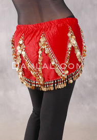 Velvet Crescent Hip Scarf with Zig Zag Bead and Coin Pattern - Red and Gold