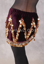 Velvet Crescent Hip Scarf with Zig Zag Bead and Coin Pattern - Wine and Gold