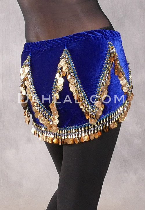 Velvet Crescent Hip Scarf with Zig Zag Bead and Coin Pattern - Royal Blue and Gold