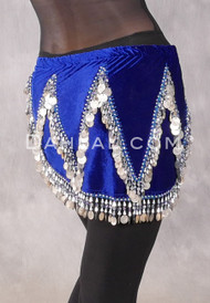 Velvet Crescent Hip Scarf with Zig Zag Bead and Coin Pattern - Royal Blue and Silver